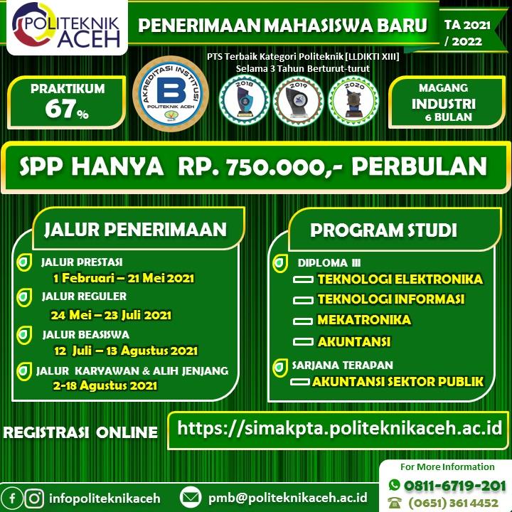 Politeknik Aceh Penerimaan Mahasiswa Baru Ta 2021 2022